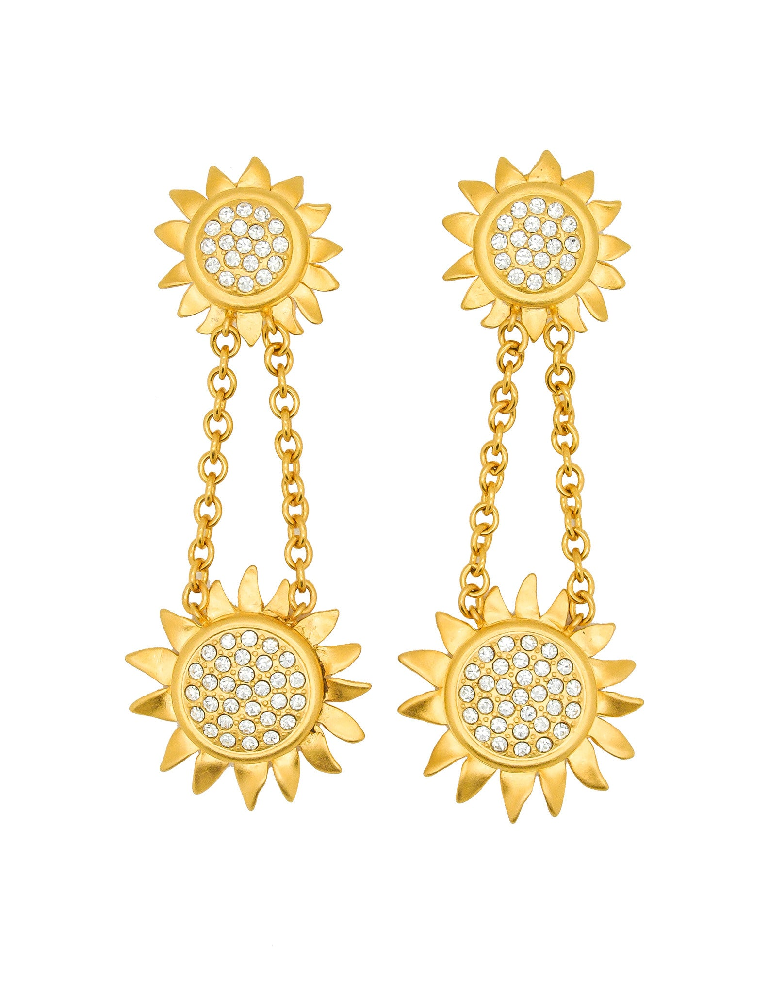 Karl Lagerfeld Vintage Gold Rhinestone Sunflower Earrings - Amarcord Vintage Fashion  - 1