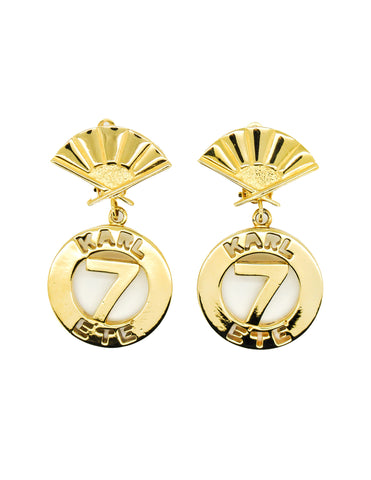 Karl Lagerfeld Vintage Gold Karl 7 Ete Circle Fan Earrings