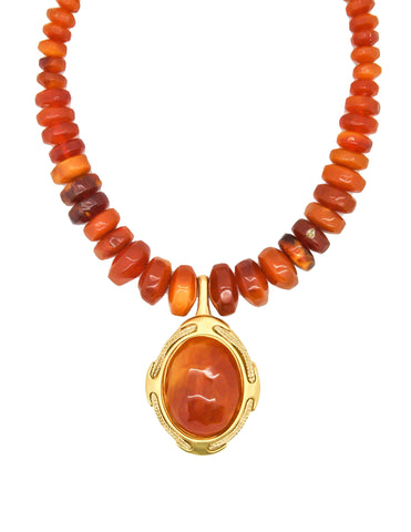 Karl Lagerfeld Vintage Carnelian Agate Locket Necklace