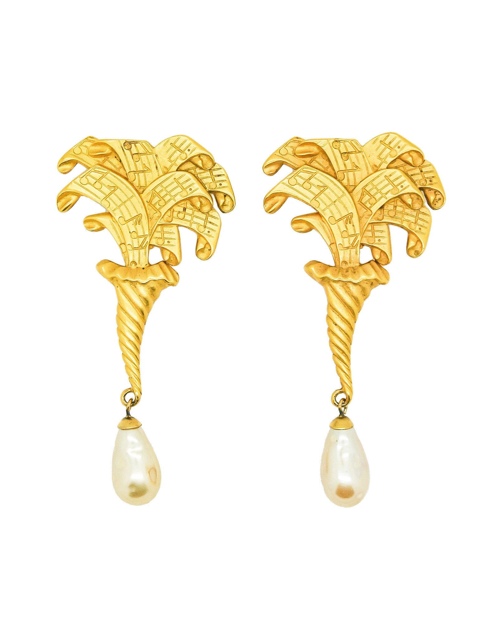 Karl Lagerfeld Vintage Music Horn Earrings - Amarcord Vintage Fashion  - 1