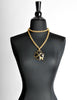 Karl Lagerfeld Vintage Black and Gold Shamrock Necklace - Amarcord Vintage Fashion  - 4