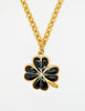 Karl Lagerfeld Vintage Black and Gold Shamrock Necklace - Amarcord Vintage Fashion  - 2