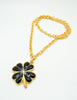 Karl Lagerfeld Vintage Black and Gold Shamrock Necklace - Amarcord Vintage Fashion  - 6