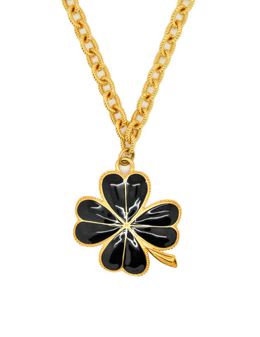 Karl Lagerfeld Vintage Black and Gold Shamrock Necklace