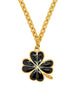 Karl Lagerfeld Vintage Black and Gold Shamrock Necklace - Amarcord Vintage Fashion  - 1