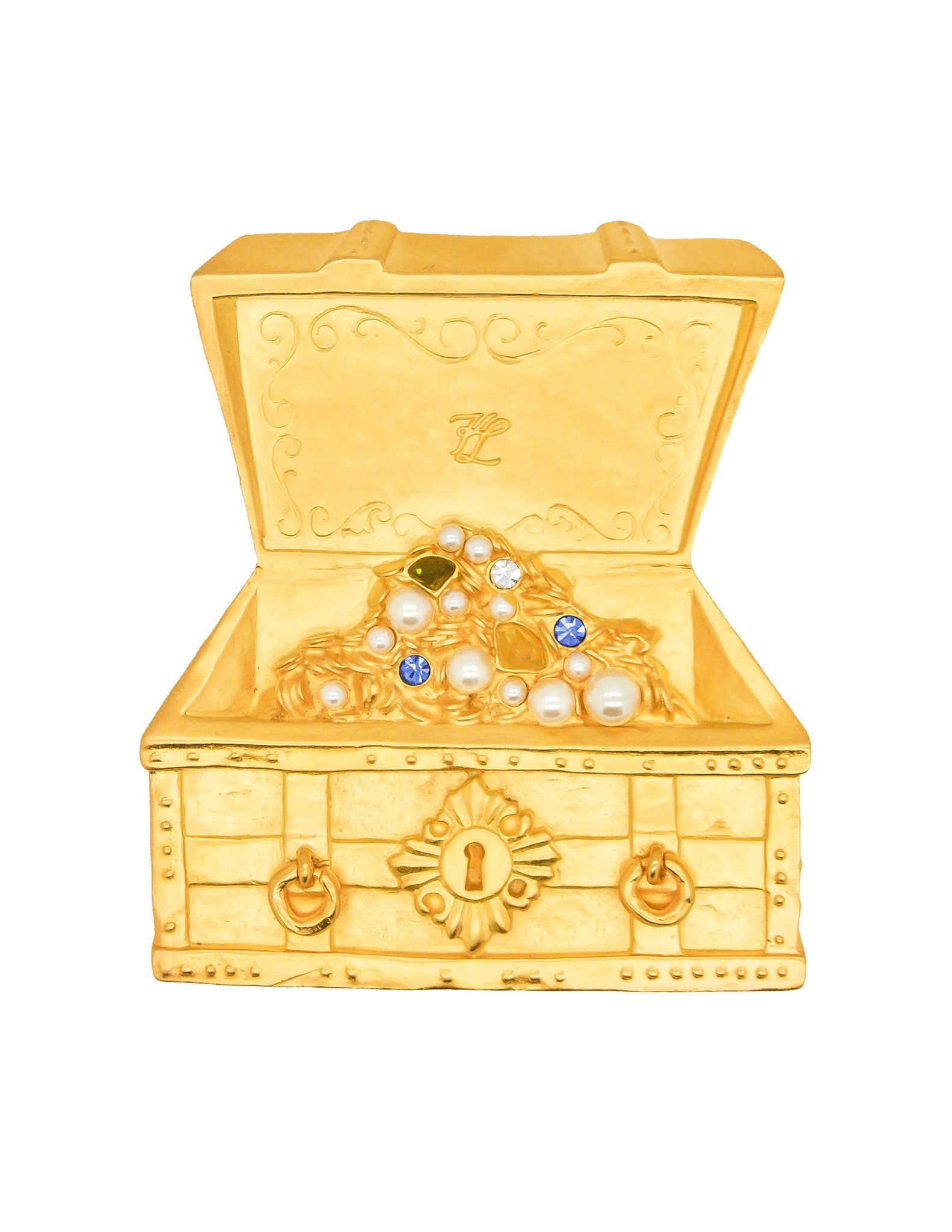 Karl Lagerfeld Vintage Treasure Chest Brooch - Amarcord Vintage Fashion  - 1