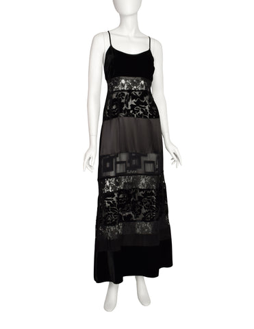 Katharine Hamnett Vintage 1993 Black Lace Satin Velvet Devore Maxi Slip Dress