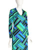 Ken Scott Vintage 1970s Green Blue Geometric Op Art Print Dress