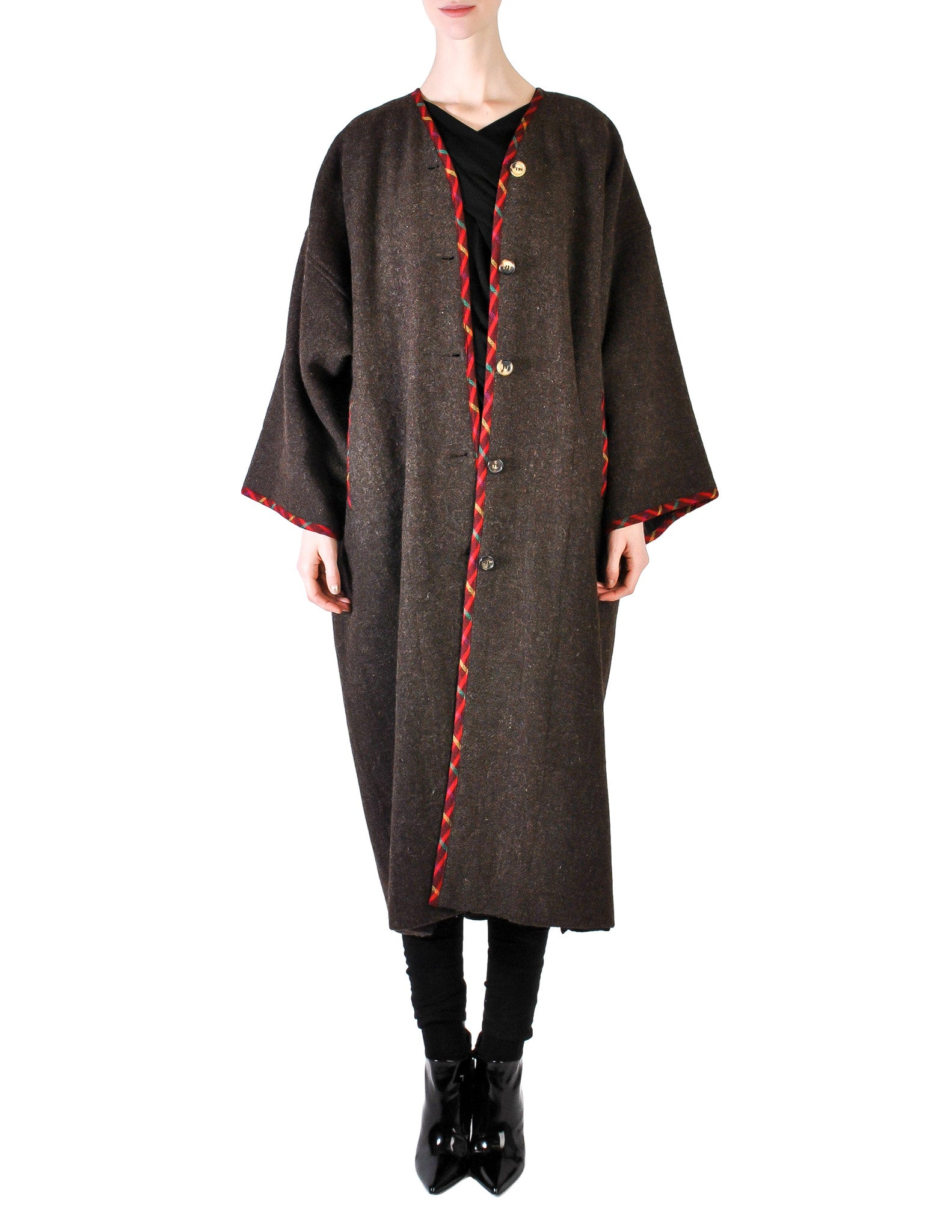 Kenzo Vintage Brown Wool Plantation Coat - Amarcord Vintage Fashion  - 1