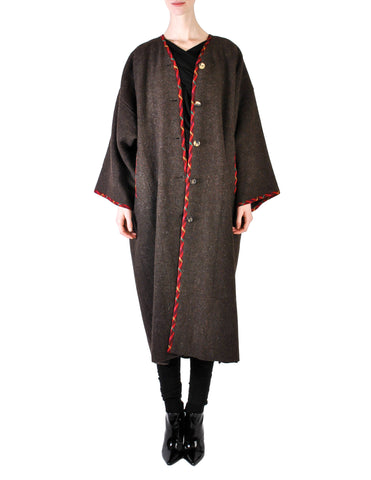 Kenzo Vintage Brown Wool Plantation Coat