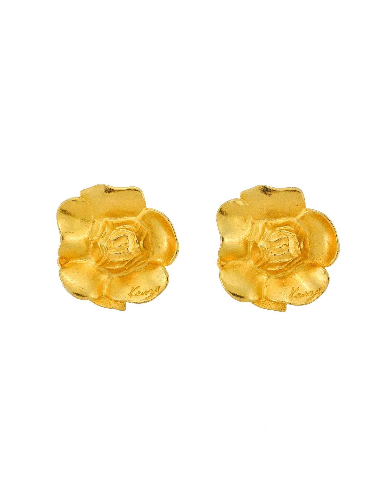 Kenzo Vintage Gold Flower Earrings - Amarcord Vintage Fashion  - 1