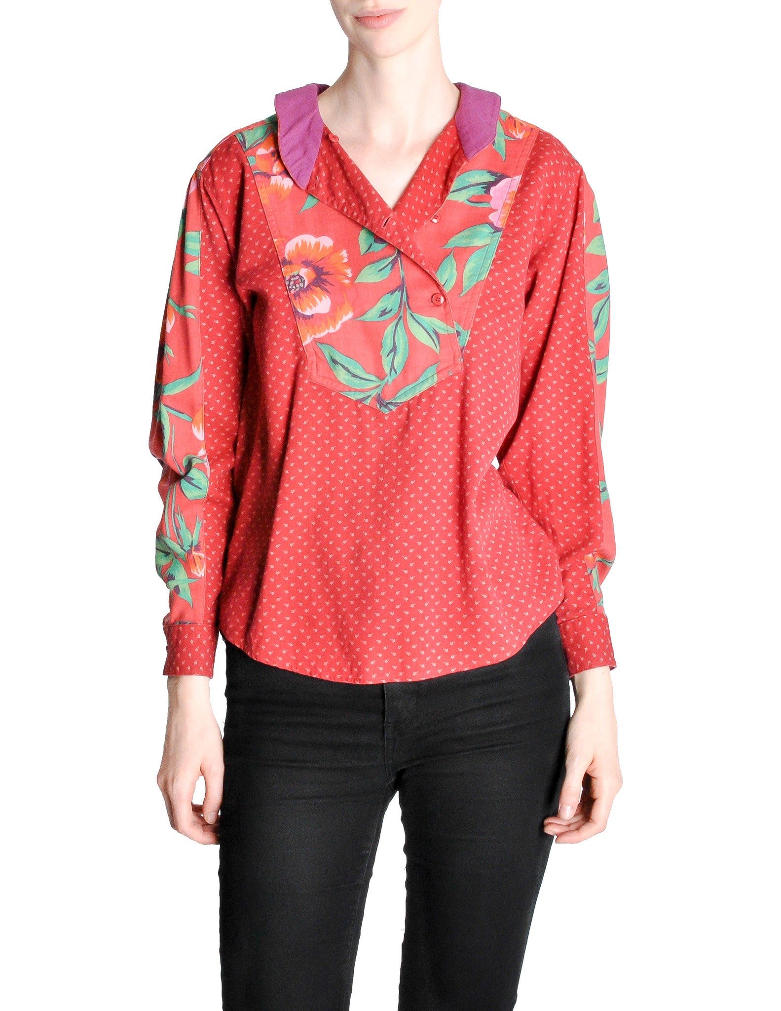 Kenzo Vintage Floral Print Long Sleeve Top - Amarcord Vintage Fashion  - 1