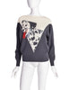 Krizia Vintage Grey White Dalmatian Dog Novelty Knit Wool Sweater