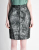 Krizia Vintage Black and Silver Metallic Leather Pencil Skirt - Amarcord Vintage Fashion  - 3