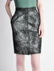 Krizia Vintage Black and Silver Metallic Leather Pencil Skirt - Amarcord Vintage Fashion  - 2