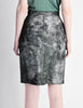 Krizia Vintage Black and Silver Metallic Leather Pencil Skirt - Amarcord Vintage Fashion  - 4