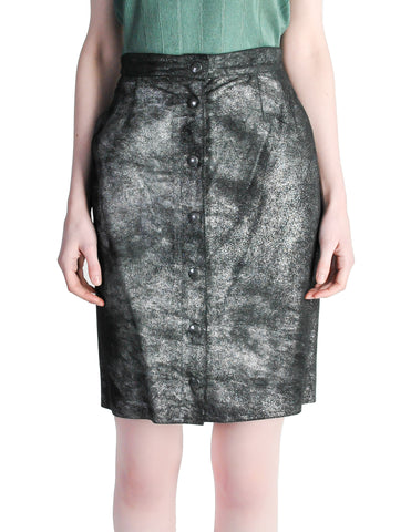 Krizia Vintage Black and Silver Metallic Leather Pencil Skirt