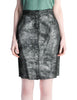 Krizia Vintage Black and Silver Metallic Leather Pencil Skirt - Amarcord Vintage Fashion  - 1