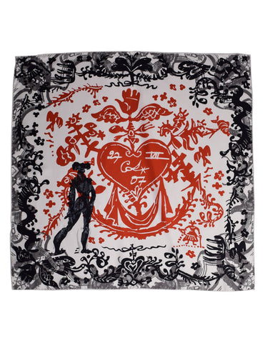 Christian Lacroix Vintage Sacred Heart Silk Scarf