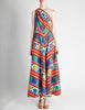 Lanvin Vintage Multicolor Graphic Floral Print One-Shoulder Maxi Dress - Amarcord Vintage Fashion  - 3