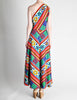 Lanvin Vintage Multicolor Graphic Floral Print One-Shoulder Maxi Dress - Amarcord Vintage Fashion  - 6