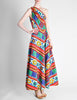 Lanvin Vintage Multicolor Graphic Floral Print One-Shoulder Maxi Dress - Amarcord Vintage Fashion  - 7