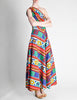 Lanvin Vintage Multicolor Graphic Floral Print One-Shoulder Maxi Dress - Amarcord Vintage Fashion  - 2