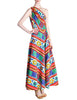 Lanvin Vintage Multicolor Graphic Floral Print One-Shoulder Maxi Dress - Amarcord Vintage Fashion  - 1
