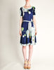 Leonard Vintage Blue Silk Jersey Floral Print Dress - Amarcord Vintage Fashion  - 3