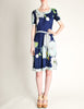Leonard Vintage Blue Silk Jersey Floral Print Dress - Amarcord Vintage Fashion  - 4