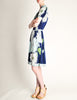 Leonard Vintage Blue Silk Jersey Floral Print Dress - Amarcord Vintage Fashion  - 5