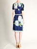 Leonard Vintage Blue Silk Jersey Floral Print Dress - Amarcord Vintage Fashion  - 7