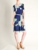 Leonard Vintage Blue Silk Jersey Floral Print Dress - Amarcord Vintage Fashion  - 2