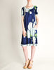 Leonard Vintage Blue Silk Jersey Floral Print Dress - Amarcord Vintage Fashion  - 6