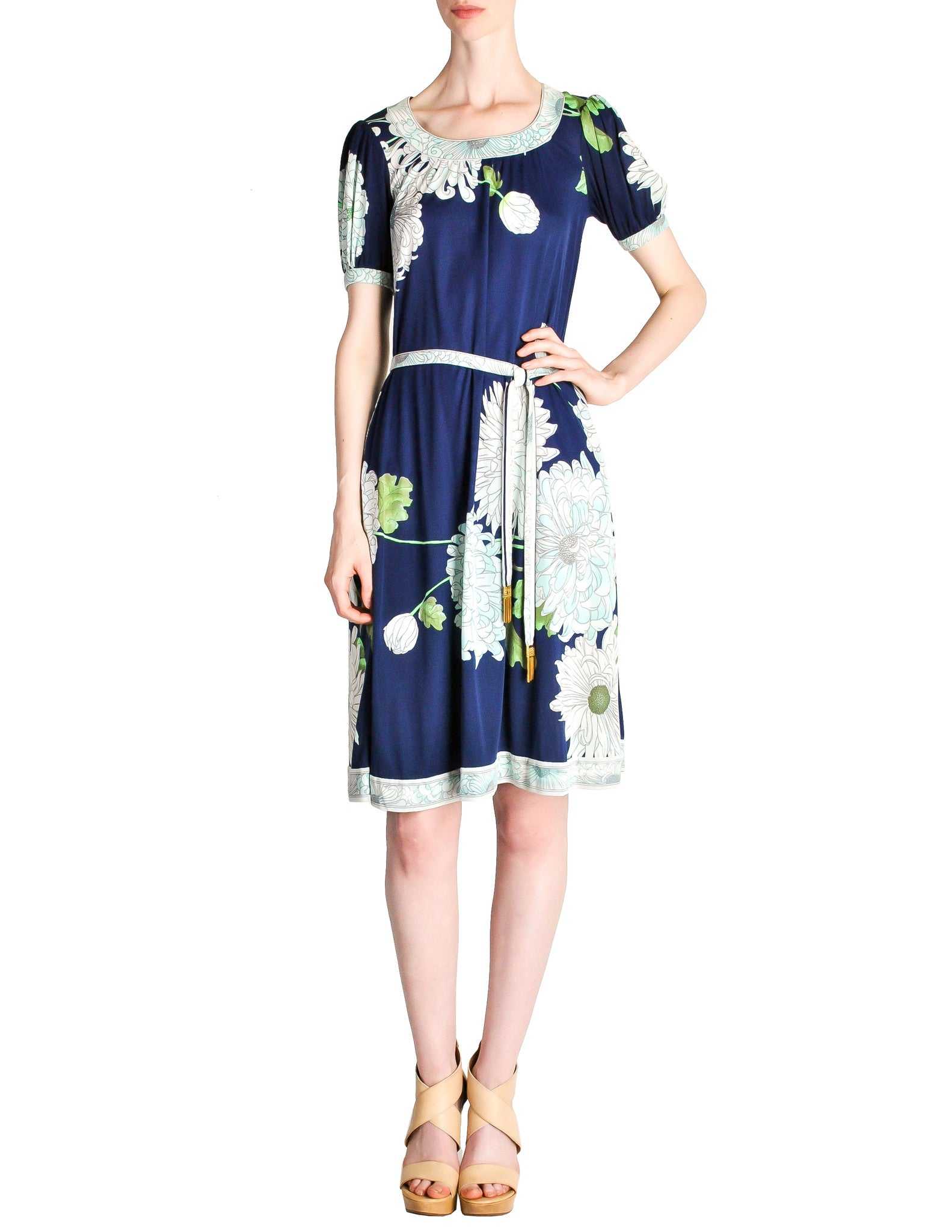 Leonard Vintage Blue Silk Jersey Floral Print Dress - Amarcord Vintage Fashion  - 1