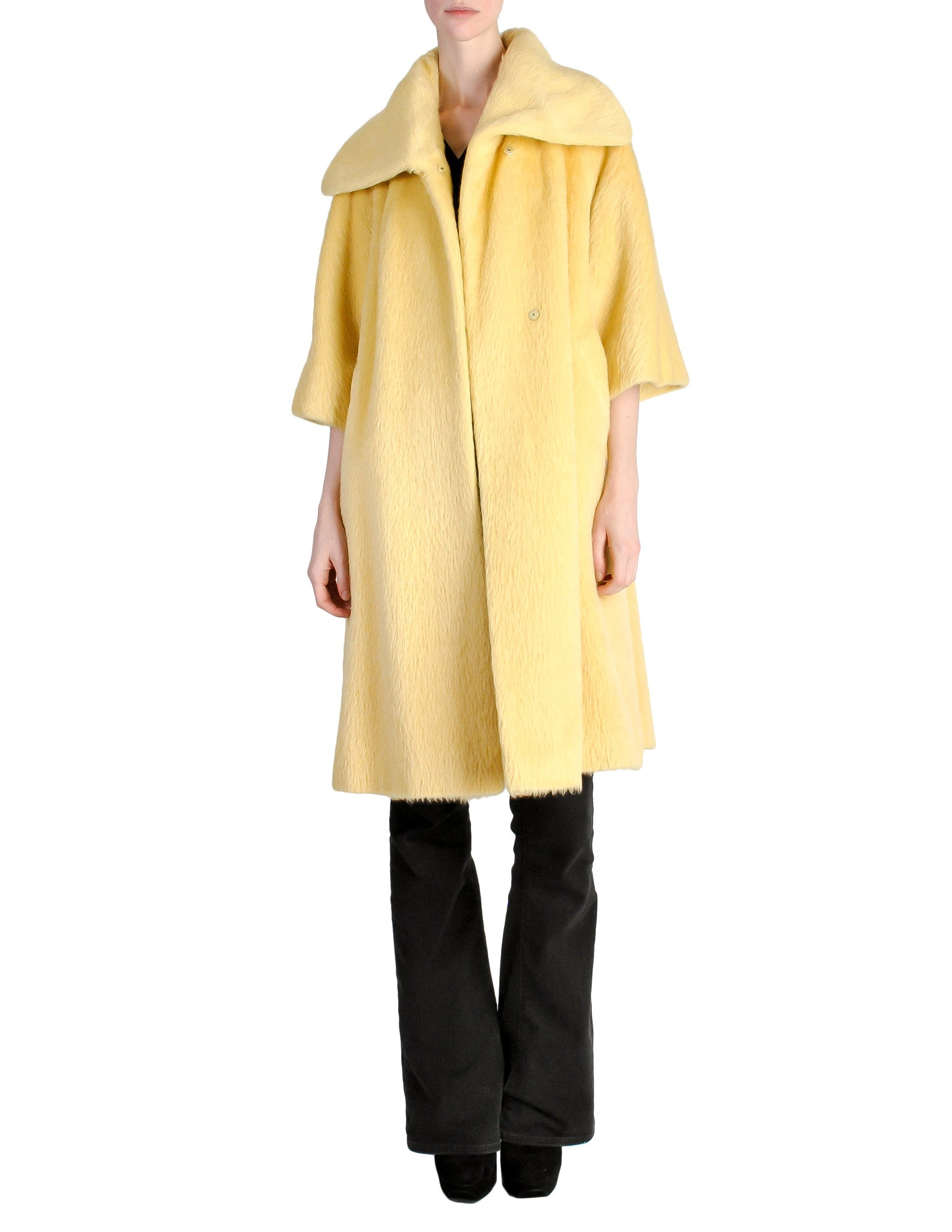 Lilli Ann Vintage Banana Yellow Wool Mohair Swing Coat - Amarcord Vintage Fashion  - 1