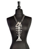 Louis Giusti Vintage Massive Silver Fish Skeleton Pendant Necklace