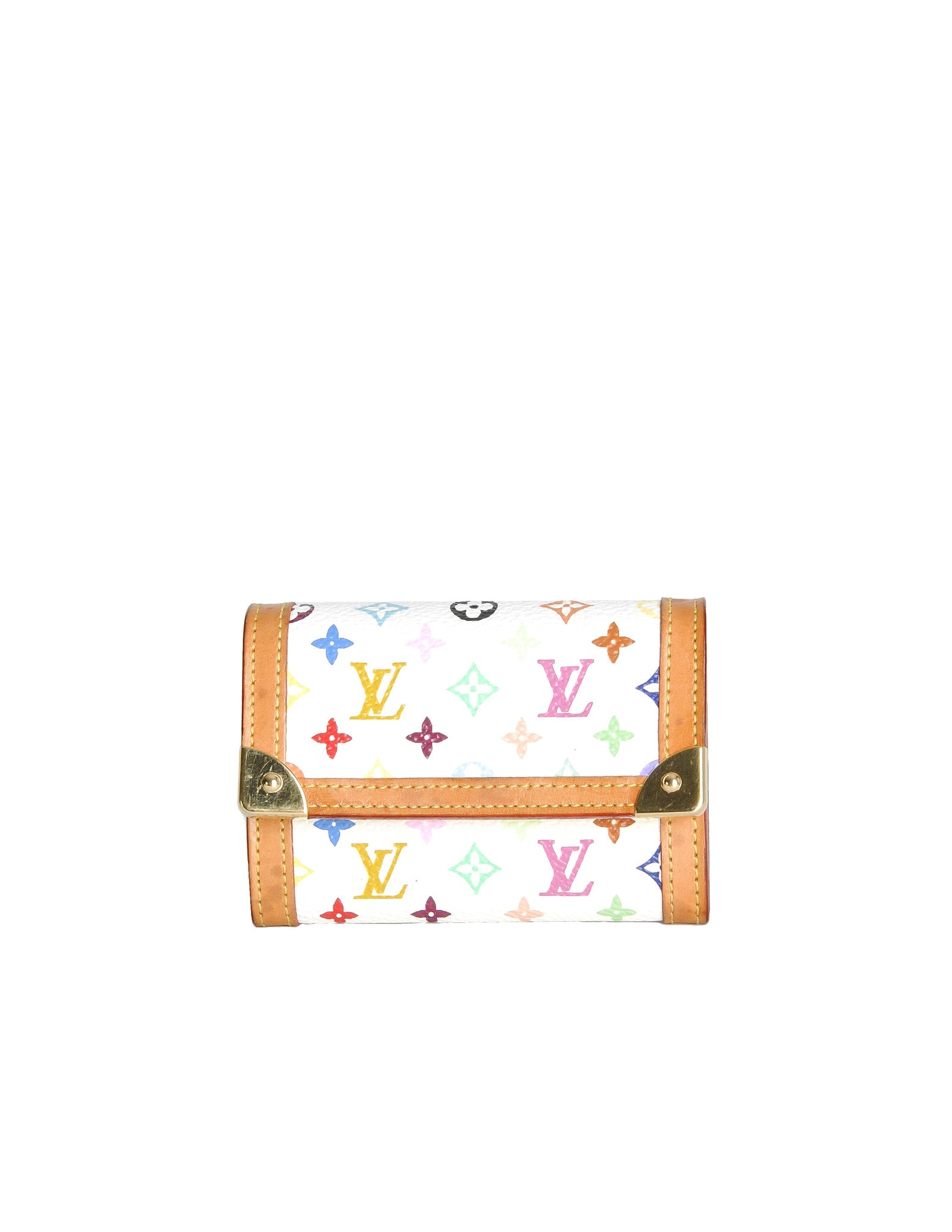 Louis Vuitton White Multicolor Monogram Trifold Wallet - Amarcord Vintage Fashion  - 1