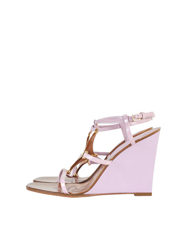 Louis Vuitton Brown and Orchid Strappy Wedge Sandals
