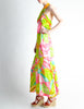 Malcolm Starr Vintage Colorful Psychedelic Op Art Maxi Dress - Amarcord Vintage Fashion  - 3