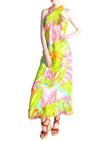 Malcolm Starr Vintage Colorful Psychedelic Op Art Maxi Dress