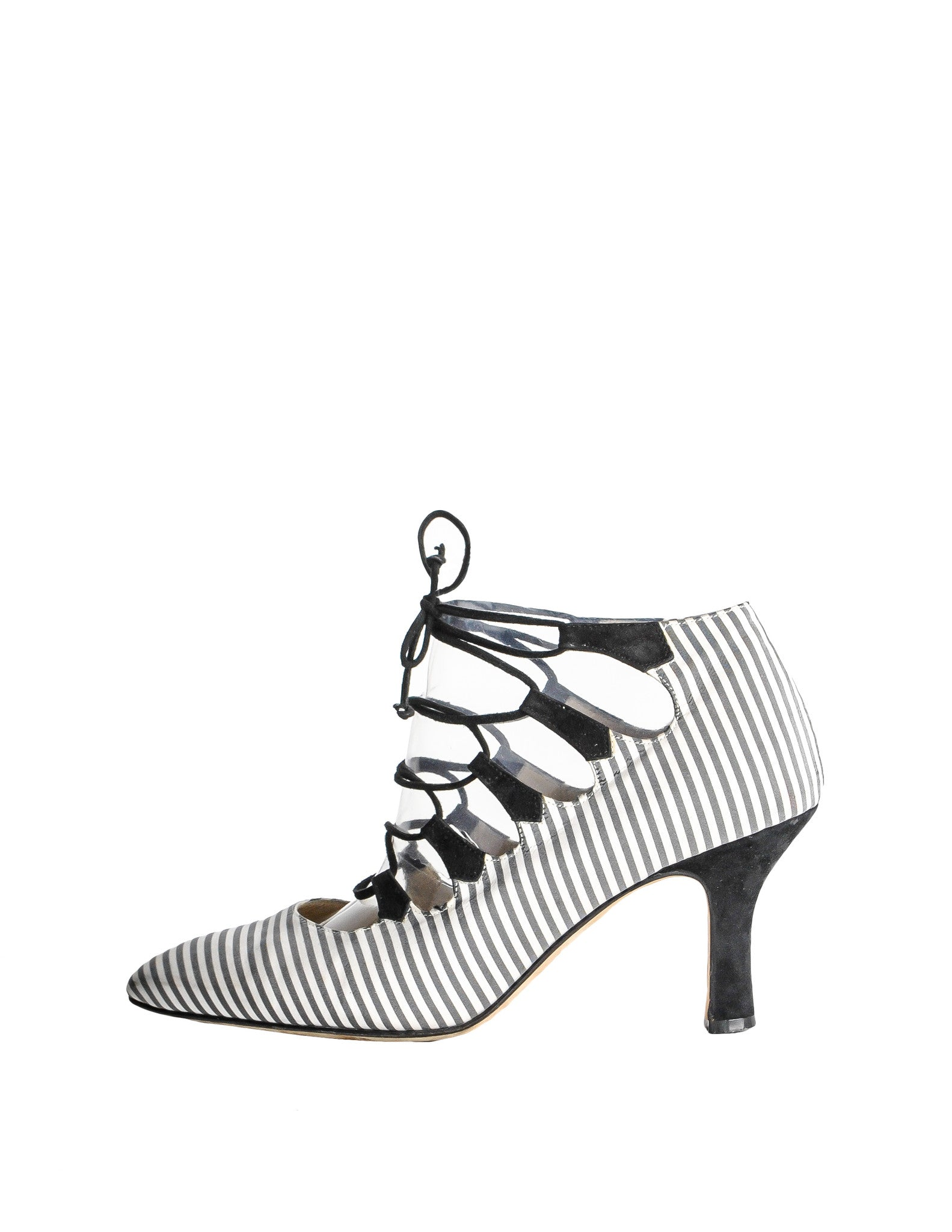 Manolo Blahnik Vintage Striped Lace Up Heels - Amarcord Vintage Fashion  - 1