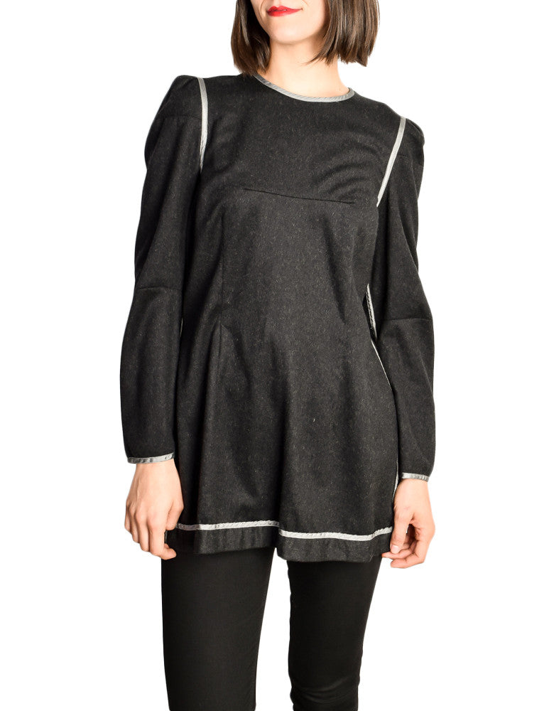 Margiela White Label Grey Wool Tunic Top