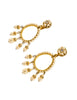 Miriam Haskell Vintage Large Pearl Rhinestone Gold Teardrop Dangle Earrings
