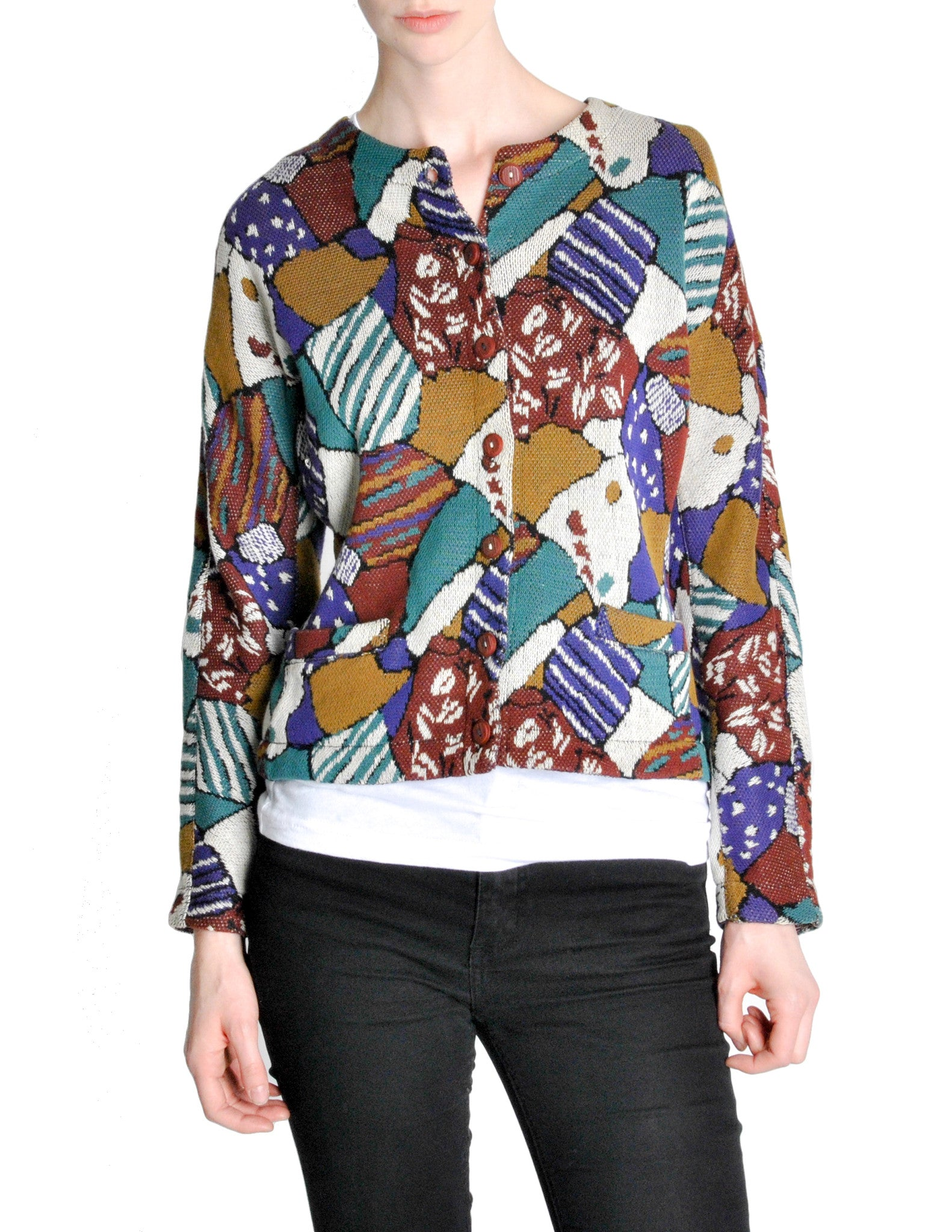 Missoni Vintage 'Patchwork' Print Knit Cardigan Sweater - Amarcord Vintage Fashion  - 1