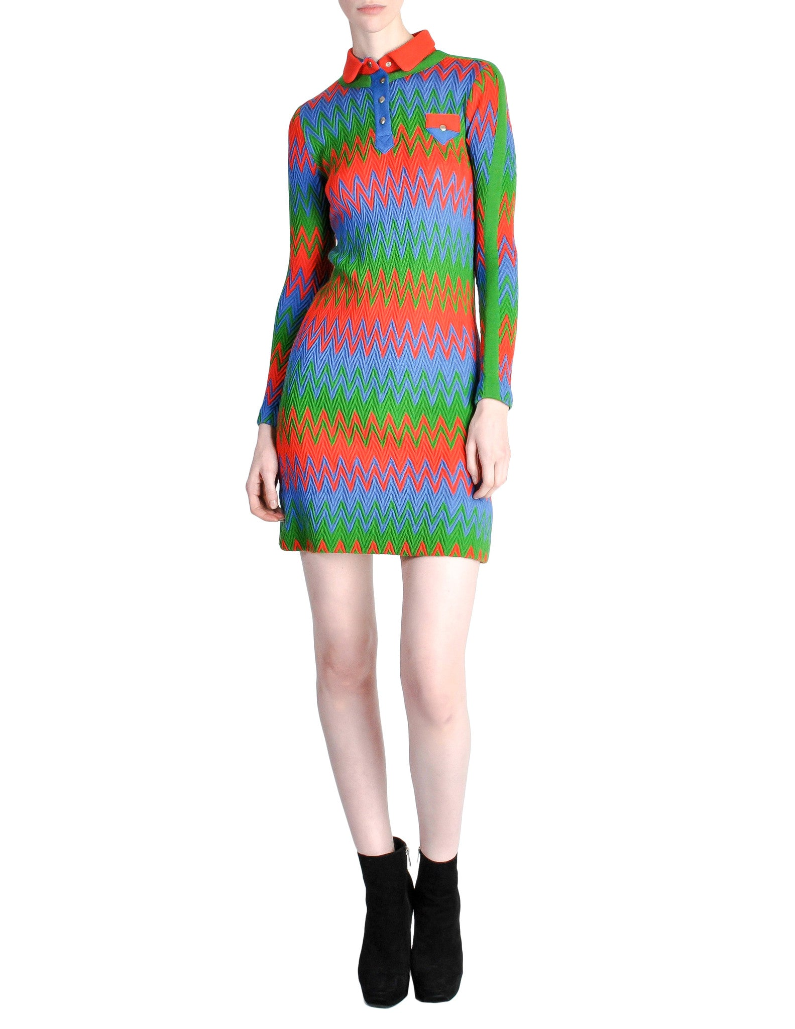Emmanuelle Khanh for Missoni Vintage Multicolor Chevron Knit Mini Dress - Amarcord Vintage Fashion  - 1