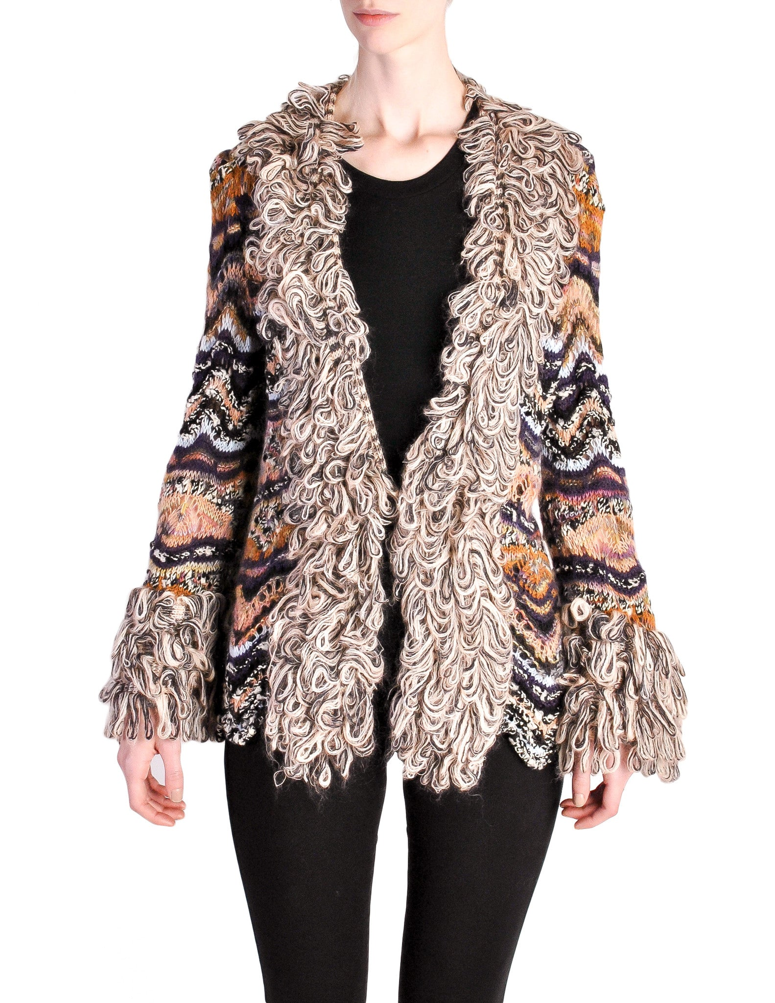 Missoni Vintage Chunky Multicolor Shaggy Collar Cardigan Sweater - Amarcord Vintage Fashion  - 1