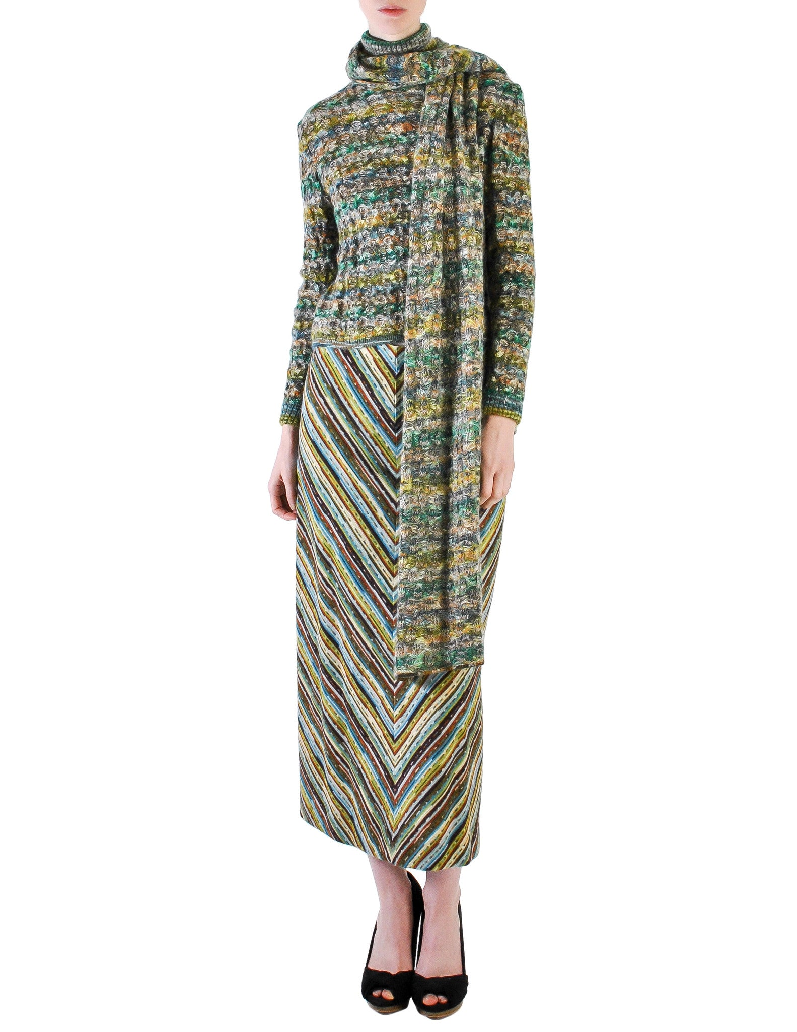 Missoni Vintage Green Patterned Knit Sweater, Scarf and Skirt Ensemble Set - Amarcord Vintage Fashion  - 1