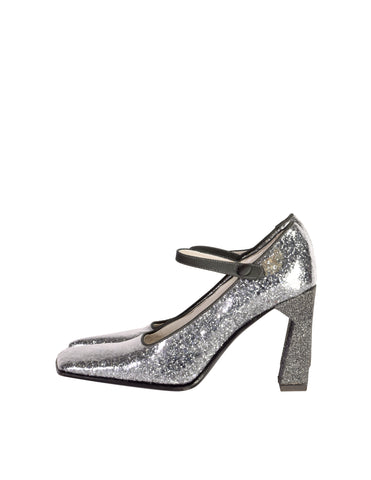 Miu Miu Vintage 1998 Grey Silver Glitter Patent Leather Mary Jane Heels Shoes