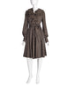 Mollie Parnis Vintage Brown and White Polka Dot Silk Ruffle Collar Wrap Dress